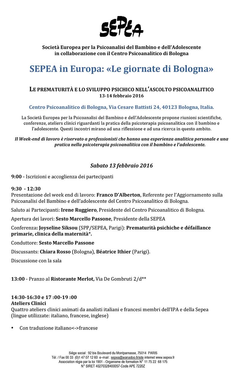 Programma Giornate SEPEA Bologna 2016 def-1-1